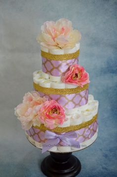 Lavender Gold Diaper cake/ Gifts for baby girl/ baby girl gifts/ unique diaper cake/ diaper cake/ gifts for baby/ baby girl/ vintage diaper cake/ floral diaper cake/ Gold diaper caake/ baby shower by LittleOrchidStudio