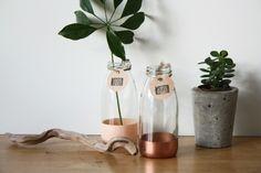 kleine+Vase+/+Flasche+aus+Glas+Akzent+kupfer+kuzi+von+KUZÍ+auf+DaWanda.com