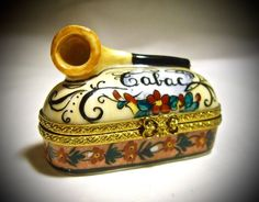 Authentic Limoges France French Pipe Case Trinket Box Peint Main Signed Limoge