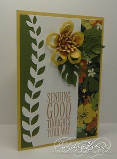 by Angela: Botanical Blooms,  Perfect Pennants, Botanical Gardens dsp, Botanical Builder framelits - all from Stampin' Up!