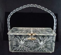 Vintage Clear Carved Lucite Purse From Iwannas