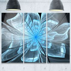 Light Blue Flower with Petals - Floral Glossy Metal Wall Art - 36Wx28H