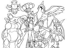 pokemon anime coloring pages for kids printable free - Friends Anime Coloring Pages