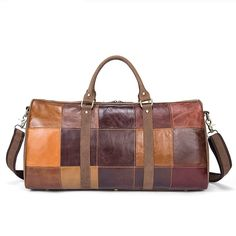 Genuine Leather Suitcase and Travel Bags Large Big Patchwork Men Travel Bags Leather Carry On Luggage Casual Duffle Bag Cowhide Leather, Cow Leather, Leather Bag, Mens Weekend Bag, Weekend Bags, Leather Suitcase, Motorcycle Leather, Leather Slip On Shoes, Messenger Bag Men