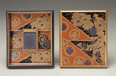 Box for writing implements (suzuribako) ca. 1600 Momoyama or Edo period Lacquer, silver, and gold on wood; enameled bronze; inkstone H: 1.0 W: 3.0 D: 4.5 cm Japan. The contrast between the autumnal grasses and chrysanthemums against a black background and the circular silver and gold circular motifs creates a dynamic composition in a style made popular by artisans in Kyoto during the late sixteenth and early seventeenth centuries.