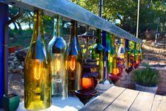 Outdoor light fixtures made from empty wine bottles!