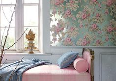 The metallic blue ground on this floral wallpaper is DIVINE! Belle Inspirations: SPRING BEDROOMS...
