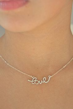 Silver Necklace Love
