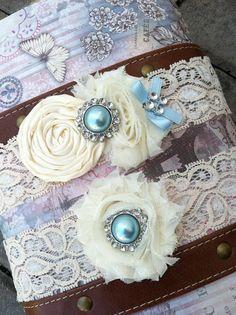 wedding garter / bridal  garter/  lace garter / toss garter /baby blue  /  Something BLue wedding garter / vintage inspired lace garter. $24.99, via Etsy.