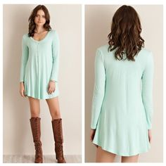 SALE🎉🆕Jersey Knit Staple Dress {Mint} JUST IN✨ Mint solid jersey v-neck dress with round hem line. Unlined. Non-sheer. Knit. Lightweight.  Made in USA. 95%RAYON 5%SPANDEX 2/1/1 DE2701CM-4FB Dresses Long Sleeve