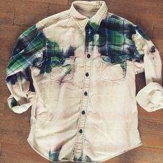 Custom Vintage Acid Wash Cotton Flannel Plaid Shirt Ladies Size L Green