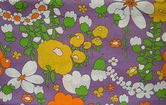 Mod ~ vintage green, orange, purple, white, and yellow fabric