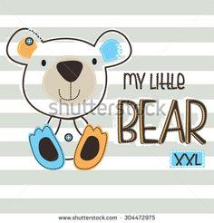 my little bear on striped background vector illustration