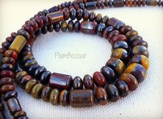 Tiger iron stone beads, 18 inch graduated strand of assorted shapes Stone Beads, 18th, Bracelets, Iron, Etsy, Jewelry, Jewlery, Jewerly, Schmuck
