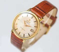 Vintage Watches Collection for women : Luxury men wristwatch Omega CONSTELLATION automatic chronometer watch cal 561 gold plated Swiss watch best watch men leather strap new Omega Constellation Automatic, Vintage Watches Women, Swiss Army Watches, Mens Watches Leather, Vintage Omega, Luxury Watches For Men, Cool Watches, Casual Watches, Quartz Watch