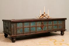 Distressed Blue Antique Indian Wedding Trunk Coffee Table Chest w/ Lock Brass Strapped Teak and Iron. $659.00, via Etsy.