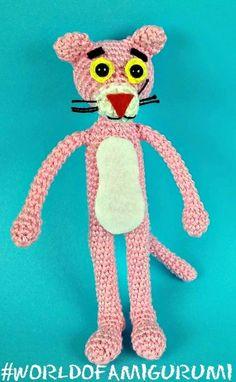 Receita Original: World of Amigurumi Panthères Roses, Pink Panter, Crochet Feather, Crochet Patterns Amigurumi, Tweety, Free Crochet, The Originals, Disney, Crafts