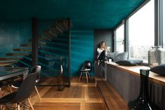 Gallery space ZALA on Behance Color Schemes Design, Lounge Music, Architecture Visualization, Loft Spaces, Behance, Gallery, Interior, Table, Furniture