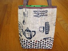 Mini Tote Bag - Rustic Coffee Burlap, Kona Coffee Beans, 100% Hawaiian Cotton, Brown, Beige, Lime Green, Mocha, Java, and Rio ~ REVERSIBLE! Available on www.MaliakeiBags.com