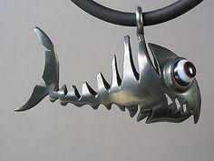 """""""spike""""...cool hollow mounted #fishbone pendant, silver oxydised, www.dudek-shop.de"""