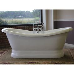 "Restoria Empress: 68"" Freestanding Pedestal Slipper Tub for Two"