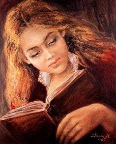 Girl Reading, 1984 by Danuta Muszyńska-Zamorska born 1931 in Poland Reading Art, Woman Reading, I Love Reading, I Love Books, Good Books, People Reading, Books To Read For Women, Photo Portrait, Portraits
