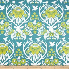 Joel Dewberry Birch Farm Antler Damask Peacock from @fabricdotcom  Designed by Joel Dewberry for Free Spirit, this cotton print is perfect for quilting, apparel and home decor accents.  Colors include cream, lime and aqua.