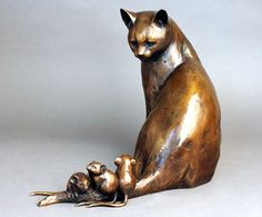 """Cat with Mice by Georgia Gerber (2006 / Edition of 15; 14""""H x 18""""W x 9""""D)"""