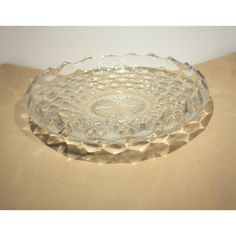 Footed Lilly Pond Centerpiece by Fostoria Glass. This large lipped shallow bowl was used for floating flowers as a centerpiece. It is often referred to as a Torte Plate or Platter. Pattern 249. Grand