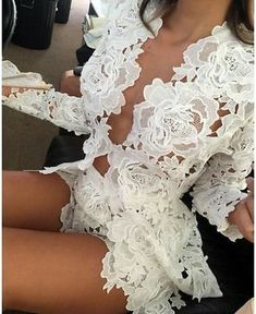 Womens Fashion - Womens Crochet Lace Two Piece Shorts Jacket Blazer Sleeved Bodycon Clubwear Club Outfits, Mode Outfits, Sexy Outfits, Fashion Outfits, Womens Fashion, Party Outfits, Vegas Outfits, Birthday Outfits, Woman Outfits