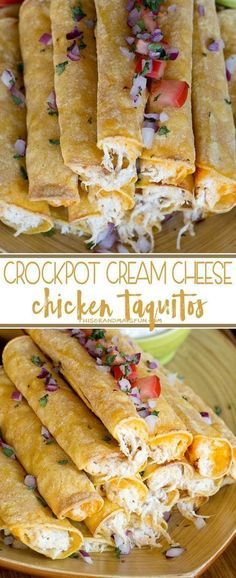 Cream Cheese Chicken Taquitos - Use your crockpot to make moist flavorful chicken filling for corn or flour tortillas.
