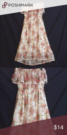 306c2236ad Floral Strapless Dress Lightly ruffled top+bottom // Cream Colored with  light pink flowers