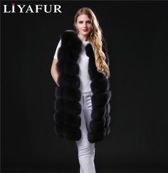 Liyafurリアル本物の厚いフルペルト青と銀キツネの毛皮長い冬のベストチョッキジレ用女性コート上着プラスサイズ