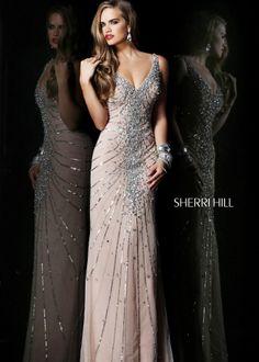 Sherri Hill 1599 - Nude Beaded V-Neck Prom Dresses - RissyRoos.com