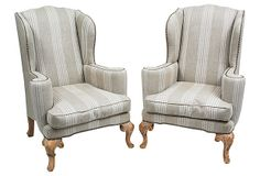 """OneKingsLane.com   Pair of 19th-century English carved oak wing chairs. Newly upholstered in a textured greige and ivory striped linen on the face and solid linen on the back and sides   27""""w x 28""""d x 41""""h x 17""""seat ht x 24""""arm ht   3,995.00"""