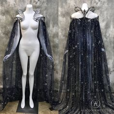 Fantasy Starry Collar Cloak ~ Wicca Cape Witch Outfit Celestial Bridal Elven Gothic Pagan Medieval Dress Cape ~ Venice Carnival Ball Costume – The Best Ideas Witch Outfit, Witch Dress, Fantasy Gowns, Fantasy Outfits, Fantasy Clothes, Fairy Outfits, Fantasy Costumes, Witch Costumes, Fairy Costumes