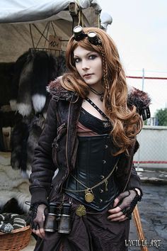 Black leather steampunk outfit.