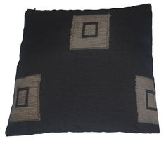 Quality Black & Wheat Square Pattern Woven Tapestry Fabric Cushion Cover