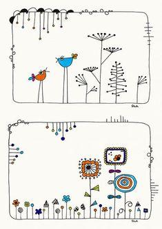 Birds-talk and Garden Illustration Zeichnung Drawing Print Karten Cards Vogel Illustration, Garden Illustration, Doodle Drawings, Doodle Art, Music Doodle, Bird Doodle, Doodle Books, Envelope Art, Dibujos Cute