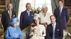 britishnobilty:  Official photo of the Christening-l-r back Duke of Edinburgh, Prince of Wales, Duchess of Cornwall, and Prince Harry; seated l-r Queen Elizabeth II, Duchess of Cambridge holding Prince George, Duke of Cambridge,  Taken by the photographer Jason Bell in the Morning Room at Clarence House immediately after the prince's baptism in the Chapel Royal, St. James's Palace on Wednesday, October 23, 2013.