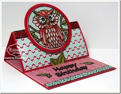 Owl Stand Up Card created by Frances Byrne using Dies: Stand Up Helpers; Happy Birthday (783); Circle Accordion Card; Owl Circles Peel-Off Stickers;  Ribbon Swirls Peel-Off Stickers;  Warm Diamond Silk Microfine Glitter – Elizabeth Craft Designs