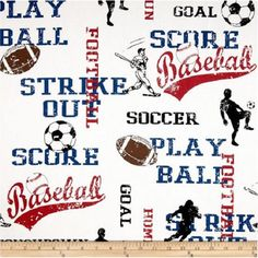1 Yard Sports football, soccer, baseball Fabric - Premier Prints Sports American Blue/White Fabric ONE YARD red white and blue by DuvetDarlingsSupply on Etsy https://www.etsy.com/listing/253024155/1-yard-sports-football-soccer-baseball
