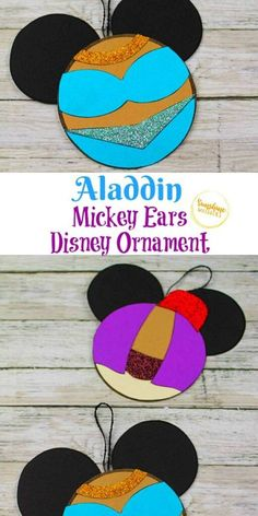 Try out this Aladdin Mickey Ears Disney Ornament Craft from Sunshine Whispers! This ornament craft is perfect for little Disney-lovers. Your kids will love hanging this creative ornament on the Christmas tree! | Disney crafts for kids #christmas #ornament #christmasornament #diyornaments #disneycrafts #disneyfun