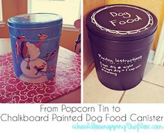 "Popcorn Tin turned Dog Food Container tutorial from Kristi at ""I Should Be Mopping the Floor"","