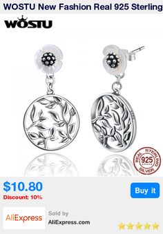 WOSTU New Fashion Real 925 Sterling Silver Vintage Leaves Two Wearing Drop Earrings For Women Fine Jewelry CQE051 * Pub Date: 06:04 Oct 20 2017