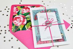 Kate Spade inspired wedding suite. LOVE the envelope. The liner kind of works for the derby too, if the florals were red.