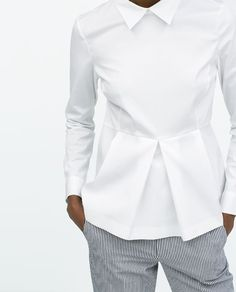 Image 5 of POPLIN PEPLUM TOP from Zara