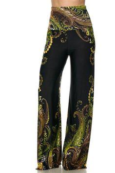 High Waist Fold Over Wide Leg Gaucho Palazzo Pants (Emerald Floral) – Niobe Clothing