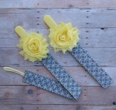 Yellow Shabby Flower Accented Pacifier Clip/Leash