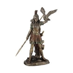 Wearing ornate armour and a plumed helmet, Athena stands with lowered spear in hand as she sends her owl into flight. Enhance any home or office decor by displaying this Greek Goddess of Wisdom and War Athena on a shelf or table. Athena Greek Goddess, Athena Goddess Of Wisdom, Minerva Goddess, Egyptian Goddess, Moon Goddess, Athena Tattoo, Statues, Owl Pet, Bird Sculpture